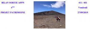 Bilan de la sortie avec les classes de 401 et 411 au Volcan